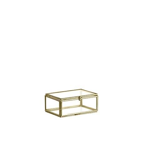 mini boîte en verre et métal doré