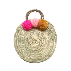 Panier rond pompons rose fluo/rose/moutarde