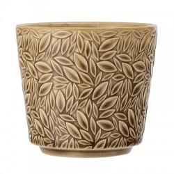 Petit pot de fleurs jaune - feuilles en relief