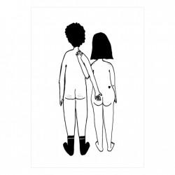Carte Couple nu de dos