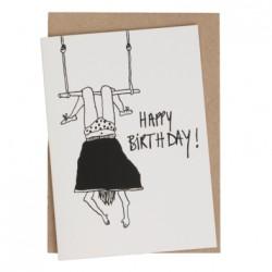 Carte double Happy birthday Trapéziste