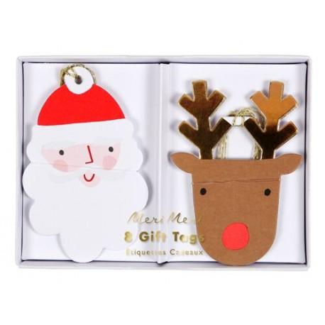 Etiquettes cadeau Renne et Père Noël