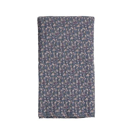 Plaid boutis bleu lavande à fleurs multicolores