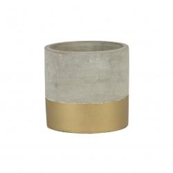 Petit pot de fleurs ciment et base dorée