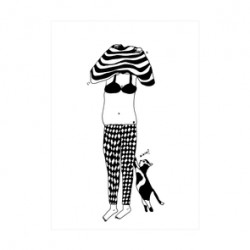 Carte Sweater girl et son chat